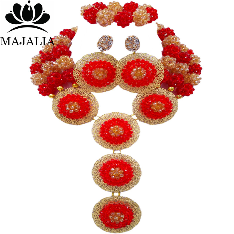 Majalia Fashion Nigeria Wedding African Beads Jewelry Set Red and gold ab Crystal Necklace Bridal Jewelry Sets 3SP002Majalia Fashion Nigeria Wedding African Beads Jewelry Set Red and gold ab Crystal Necklace Bridal Jewelry Sets 3SP002