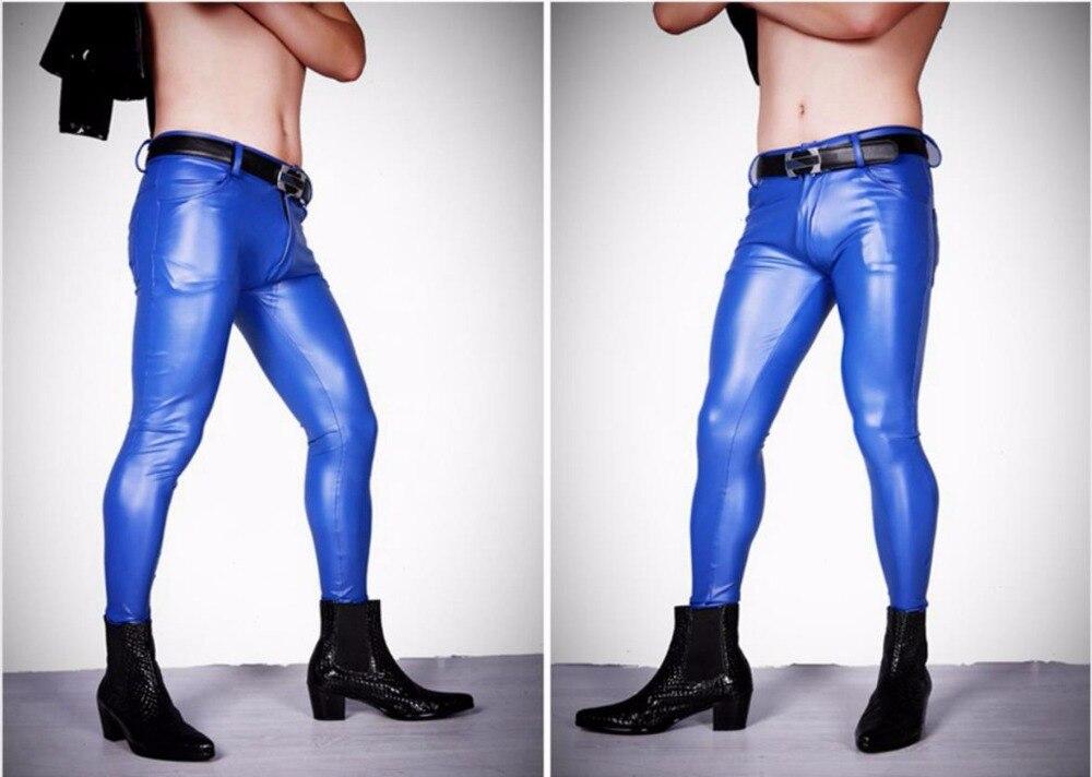 Apretado Elástico Cuero Pantalones De Nuevo Slim Vaqueros 2019 Hombres azul Elegante Sexy rojo Encanto Negro wqxBY4