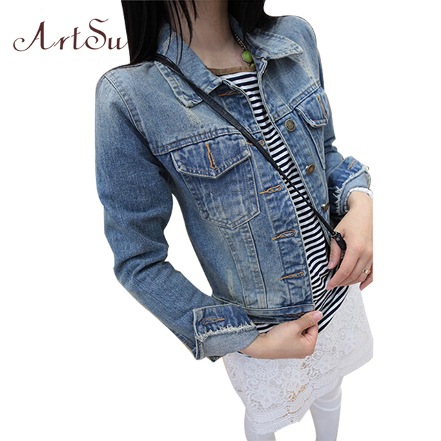 ArtSu 2017 Ladies Denim Jackets Outerwear Jeans Coat Classical Jackets Women Fashion Jeans Coats Rivets Female Jackets EPCO80021
