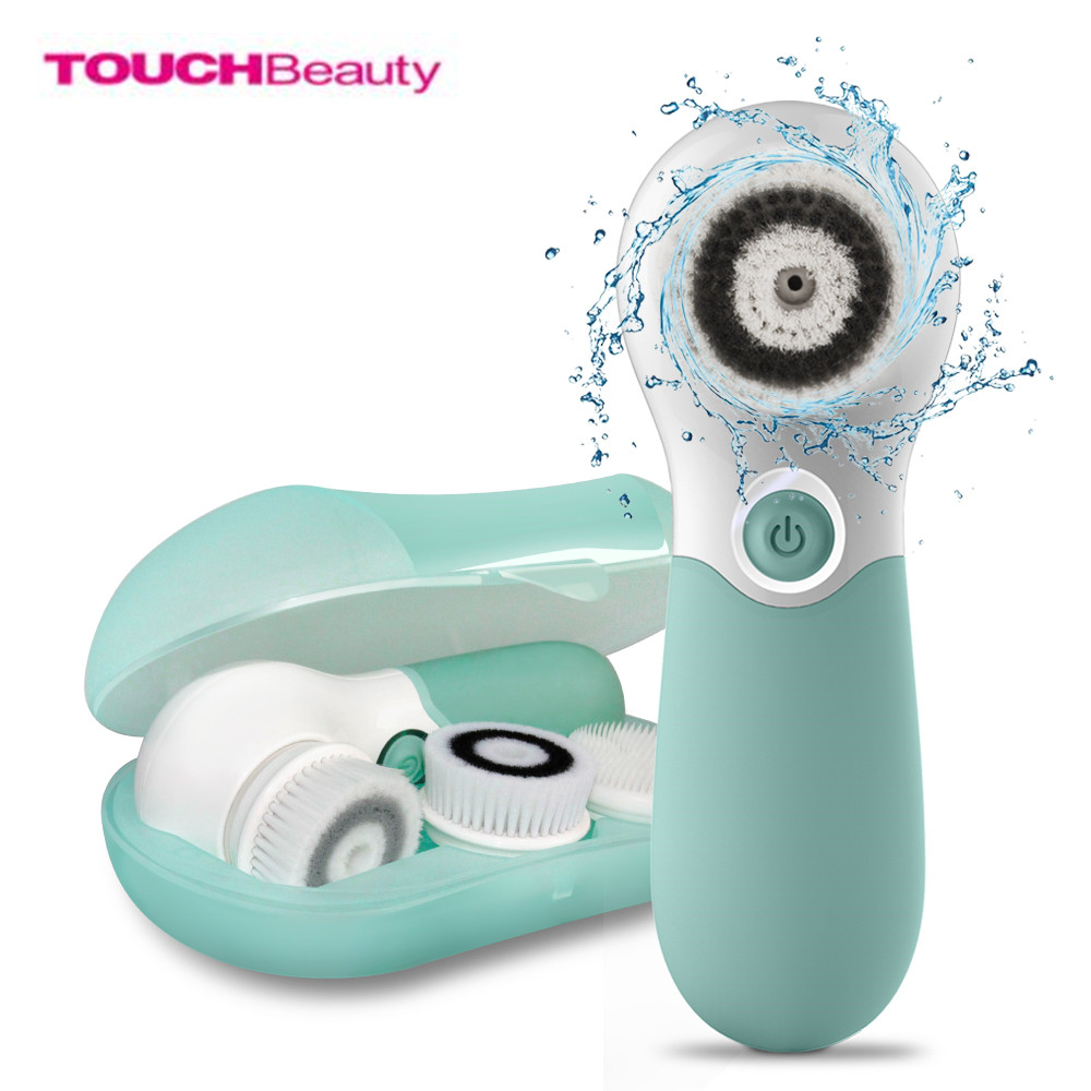 TOUCHBeauty Waterproof Face Cleansing Brush Set With 3 Different Spin Brush Head Two Speed Setting Face Cleansing Device touchbeauty 3 in1 rotating facial cleansing brush set with 3 replacement brush heads 2 speed settings with storage box tb 0759a