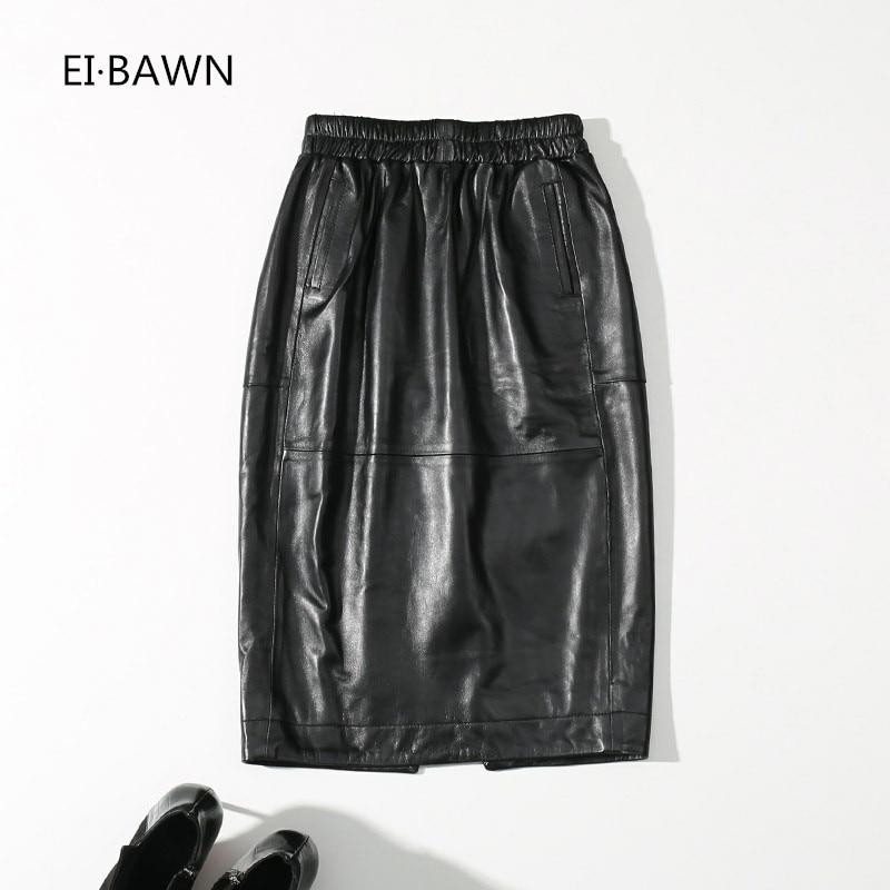 2018 натуральная кожа Юбки женские черные с эластичной талией до колена уличная овчина женские юбки из натуральной овчины женская юбка