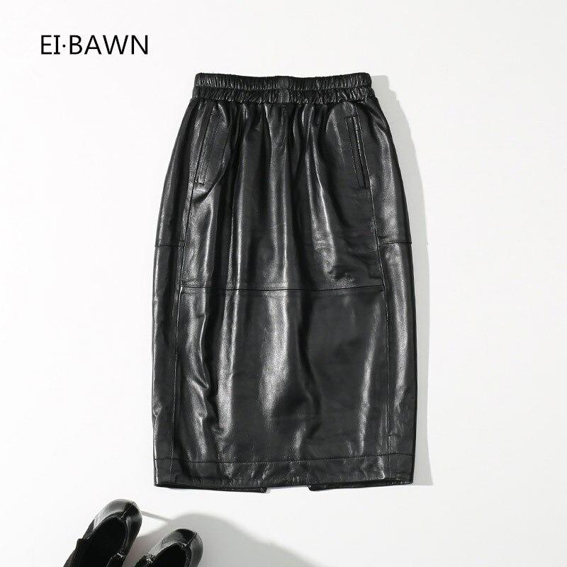 2018 echt Leder Röcke Frauen Schwarz Elastische Taille Knie Länge Streetwear Schaffell Weibliche Röcke Echtem Schaffell Damen Rock