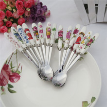 Premium Korea tableware  bone china coffee handle high quality ceramic and stainless steel spoon stirring 16cm