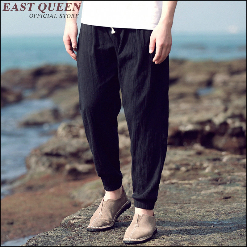 sweat pants men solid color ankle-length mens harem with drawstring mid waist sportswear chiffon button pocket cloth AA3484 a