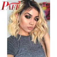 PAFF Lace Front Pervain Human Hair Wigs 1b/613 Black Roots Ombre Color Blonde Wigs Silk Base Remy Hair Body Wave Short Bob Wigs