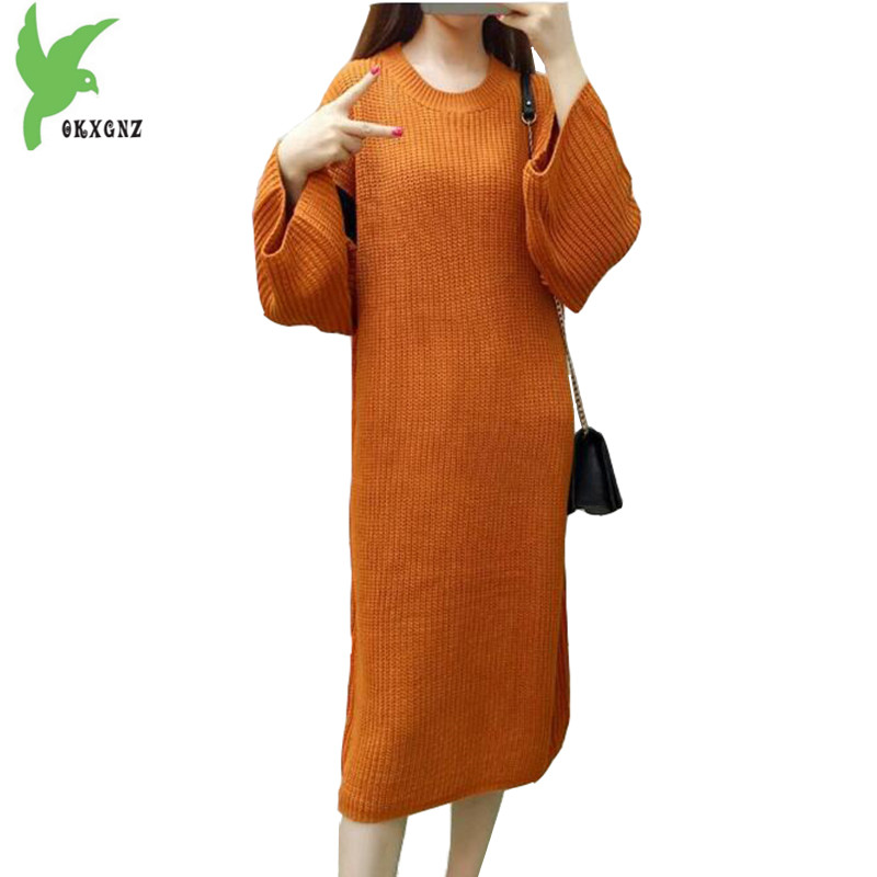 New Fashion Women Autumn Winter Knitted Sweaters Long Dress Solid Color Loose Large Yards Thick Casual Pullover Dress OKXGNZ 953 new winter women feather cotton jackets solid color hooded long coat plus size loose keep warm casual tops outerwear okxgnz a635