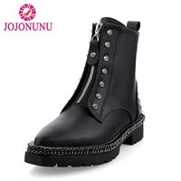 JOJONUNU Women Real Leather Fringe Boots Side Zipper Rivets Botas Fashion Botas Platform British Thick Fur For Winter Size 34 40