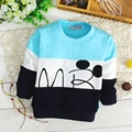 100% Cotton Baby Boys Color Block Long Sleeve O Neck Casual T-Shirt Tops Kids Sweatshirts