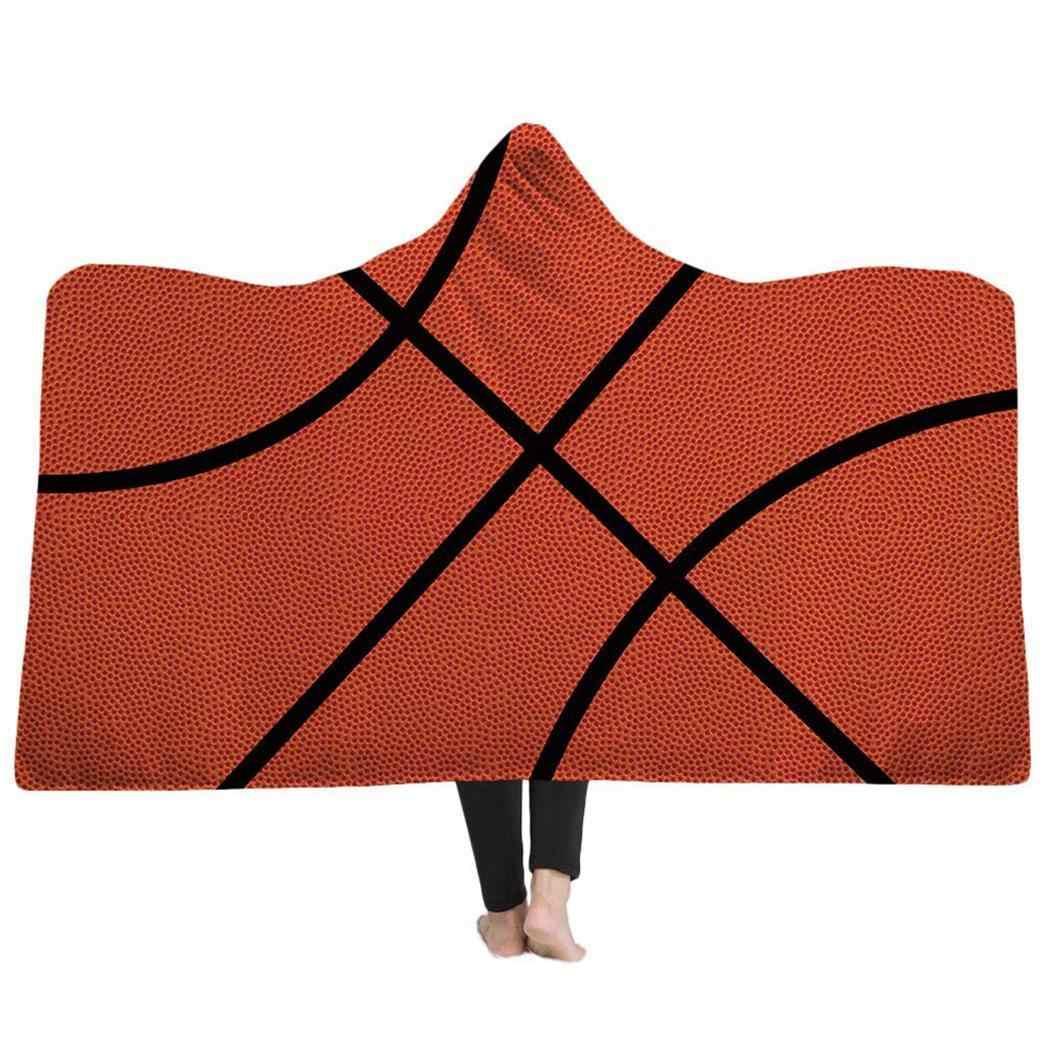 Vlog Baseball Soccer Hooded Blanket Couch Sofa Cover Travel Youth Child Velvet Plush Throw Fleece Blanket Bedspread Home Office