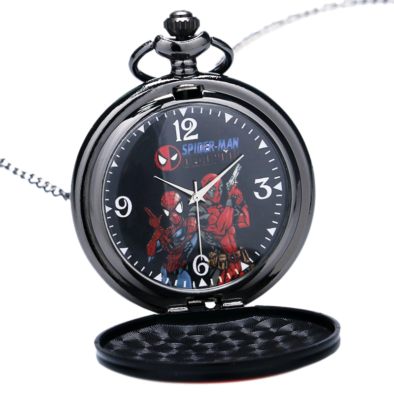 Fashion Deadpool Spider-Man Quartz Pocket Watch Cartoon Watches Necklace Clock With Chain Gift For Kids Relojio De Bolso P367