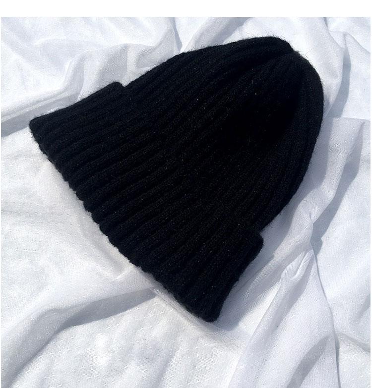 beanie women winter hats for women thick wool skullies beanies for ladies winter beanie hat solid pink black women hats winter hat  (7)