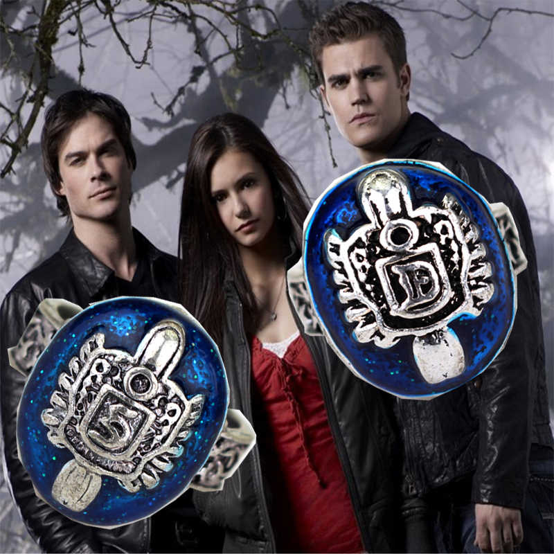 High quality The Vampire Diaries Ring Zinc alloy Lapis lazuli Jewelry for Man and Boy Movie Jewerly Dance Decorations