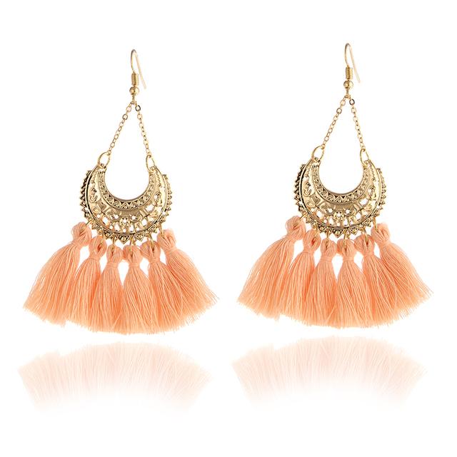 Trendy Hoop Colourful Tassel Earrings For Women