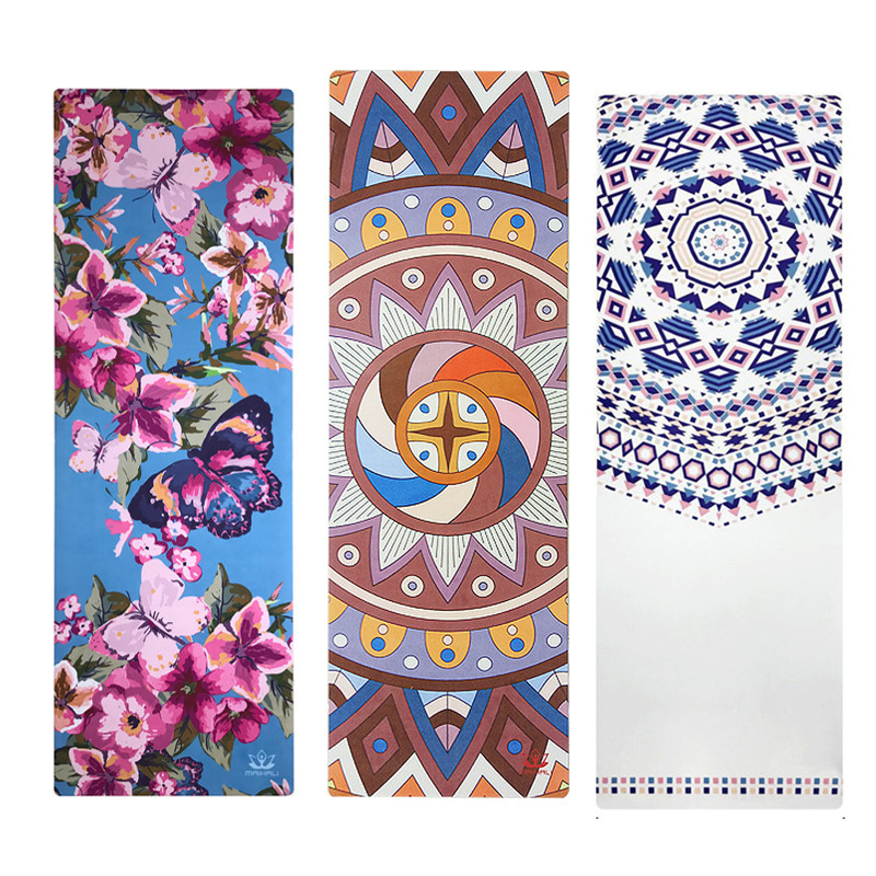 Printed Yoga Mat Travel Mat 183*61*0.15cm Anti Slip Foldable Yoga Pilates Pad Exercise Mats For Gym Fitness Sports Dance Cover chastep natural pvc yoga mat anti slip sweat absorption 183 61cm 6mm yoga pad fitness gym pilates sports exercise pad yoga mats