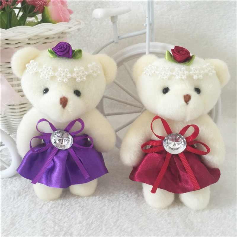 Para o Presente de Natal NEW 12 CM 10 pçs/lote pp cotton kid brinquedos plush doll mini urso de peluche pequeno buquês de flores urso para o casamento