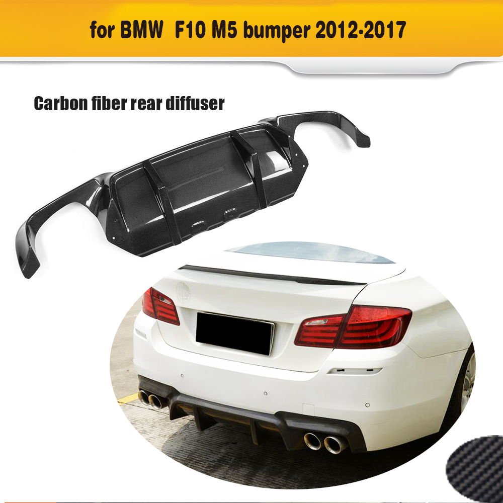 Rear Bumper Diffuser For BMW F10 M5 Sedan 2012 2017 DTM Style Grey FRP Carbon Fiber Car Bumper Lip spoiler