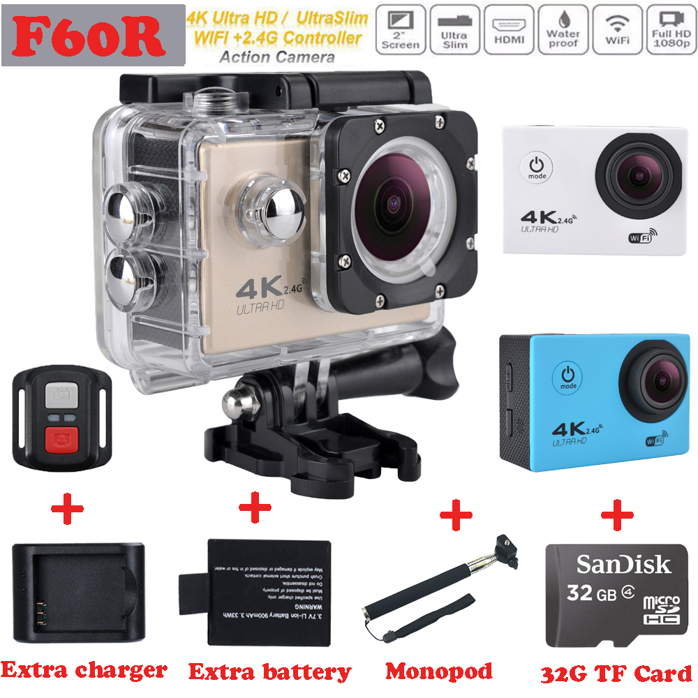 Hot sale F60 / F60R Ultra HD 4K Action Camera Wifi 2.0 inch screen 170 Wide Lens 30M waterproof Action cam gopro hero 4 style