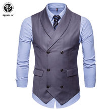 RUELK 2018 New Arrival Solid Color Waistcoat Men Suit Vest Mens Foramal Weeding Dress Vests Spring Autumn Sleeveless Jacket(China)