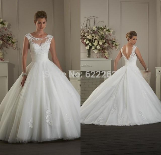 Hot Princess Ball Gown Scoop White Organza Wedding Dress Sweep Train ...