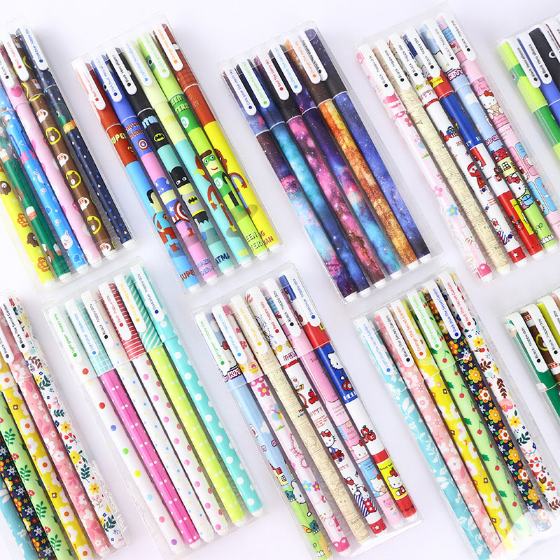Color Gel Pen 6 Pcs / Set Office School Supplies Starry Pattern Cute Kitty Hero Roller Ball Pens Stationery Caneta Escolar