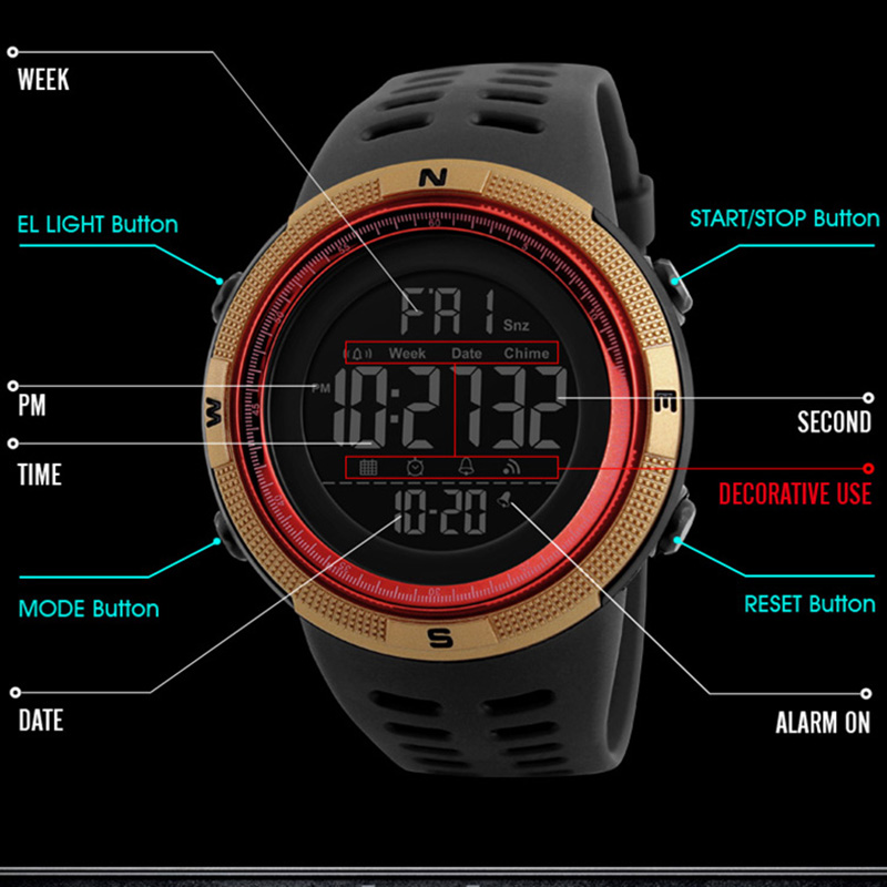 Mens Sports Watches Dive 50m Digital LED Military Watch Men Casual Electronics Wristwatches relojes hombre Luxury Brand SKMEI