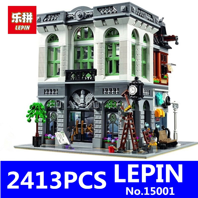 Brick Bank Model LEPIN 15001 2413Pcs Creator Educational Building Kits Blocks Bricks Toy for Children Gift Compatible With 10251 lepin 16014 1230pcs space shuttle expedition model building kits set blocks bricks compatible with lego gift kid children toy