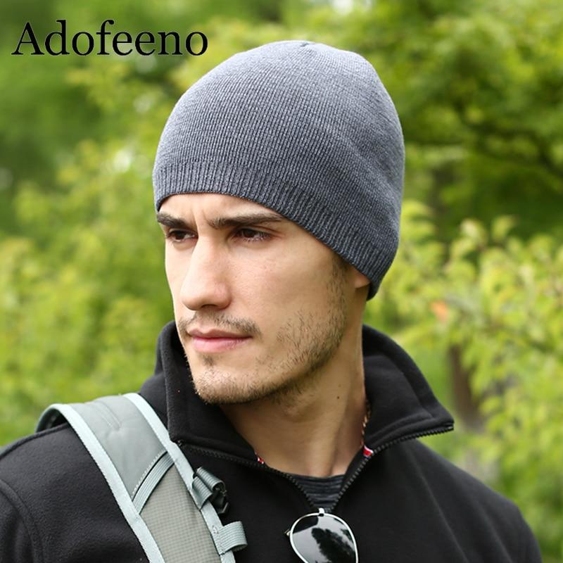 Adofeeno Quality Winter Hat For Men Skullies Beanies Fashion Warm Caps Elasticity Knitted Beanie Bonnet Hats Drop Shipping beanie