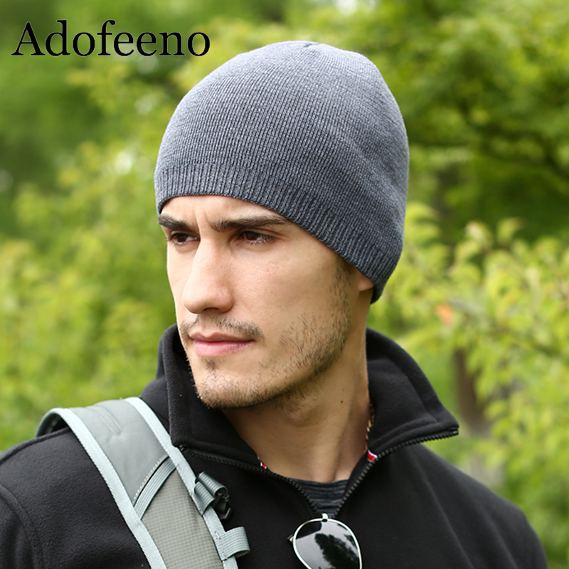 Adofeeno Quality Winter Hat For Men   Skullies     Beanies   Fashion Warm Caps Elasticity Knitted   Beanie   Bonnet Hats Drop Shipping