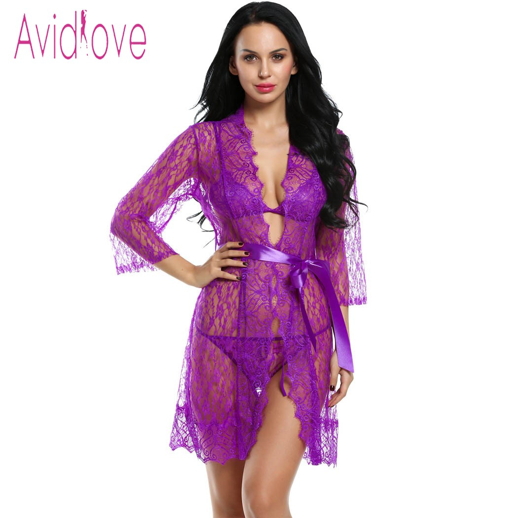 Avidlove 4 Pieces Set Women Sexy Lingerie Hot Erotic Sex Lace Robe Unlined Bra G-string Nightwear Sleepwear Porn Exotic Costumes