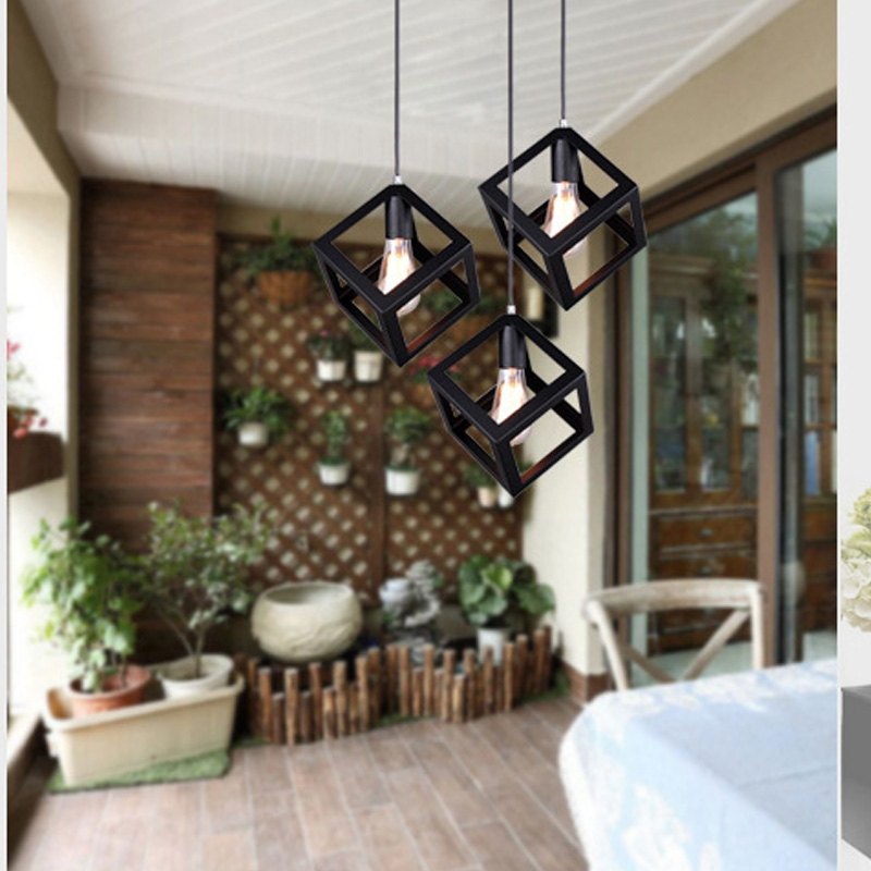 Pendant Lamp American Village Square Pendant Creative Living Room Light Loft Of The Quartet Iron Lighting Bedroom Balcony creative lamp the dog contemporary and contracted study lamp bedroom the head of a bed folding the mywood art lighting
