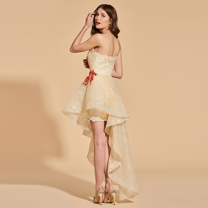 Tanpell asymmetry prom dresses champagne strapless sleeveless lace a line  dress women appliques evening plus custom prom gown eac03411fd48