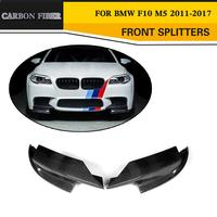 Carbon Fiber Car Front Bumper Flap Cupwings side Splitter For BMW F10 M5 Sedan 4 Door Only 11-17 Grey FRP