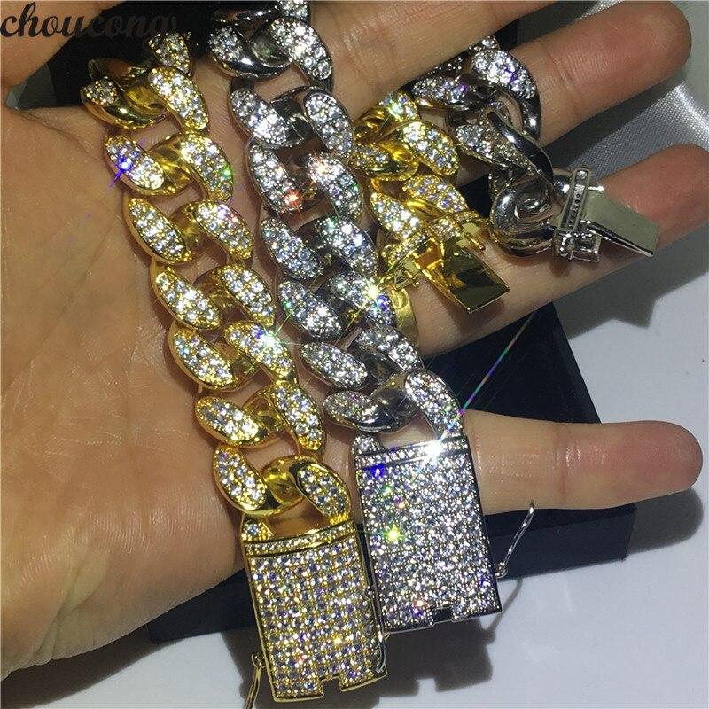 Choucong luksusowe mężczyzna Hiphop bransoletka białe złoto wypełnione AAAAA cyrkon Party rocznica bransoletki dla mężczyzn moda Rock biżuteria w Bransoletki łańcuszkowe od Biżuteria i akcesoria na  Grupa 1