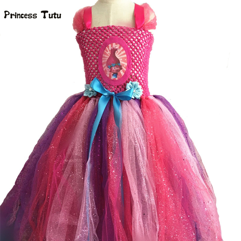 Trolls Dress Girls Kids Cosplay Troll Poppy Fancy Tutu Dress Tulle Princess Costume Baby Girl Birthday Party Performance Dresses fancy girl mermai ariel dress pink princess tutu dress baby girl birthday party tulle dresses kids cosplay halloween costume