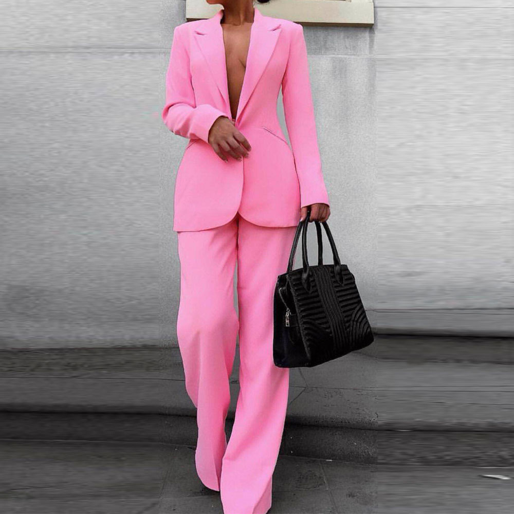 Missord 2019 Sexy Deep V Blazer and Pants Two Pcs Sets Elegant Solid Color Formal Suits   Jumpsuit   FT19500