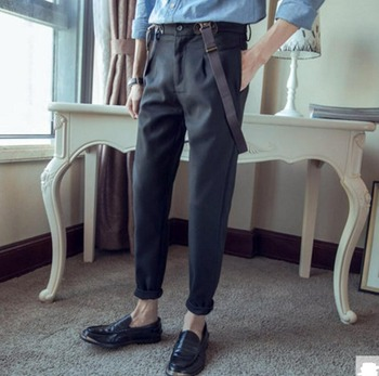 cheap and fashion Autumn teenage fashion suspender trousers slim casual suit pant Men's pencil pants overalls ! M-3XL