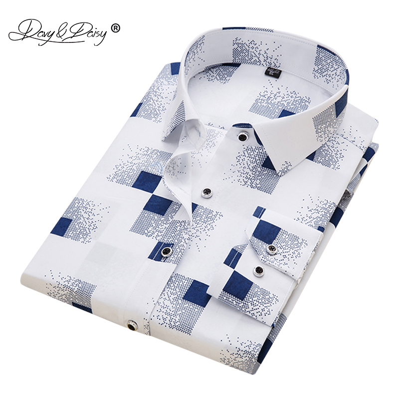 DAVYDAISY 2019 Men Casual Shirt Spring Long Sleeve Solid Print High Quality Social Dress Shirt Men Brand Clothing Camisa DS-110