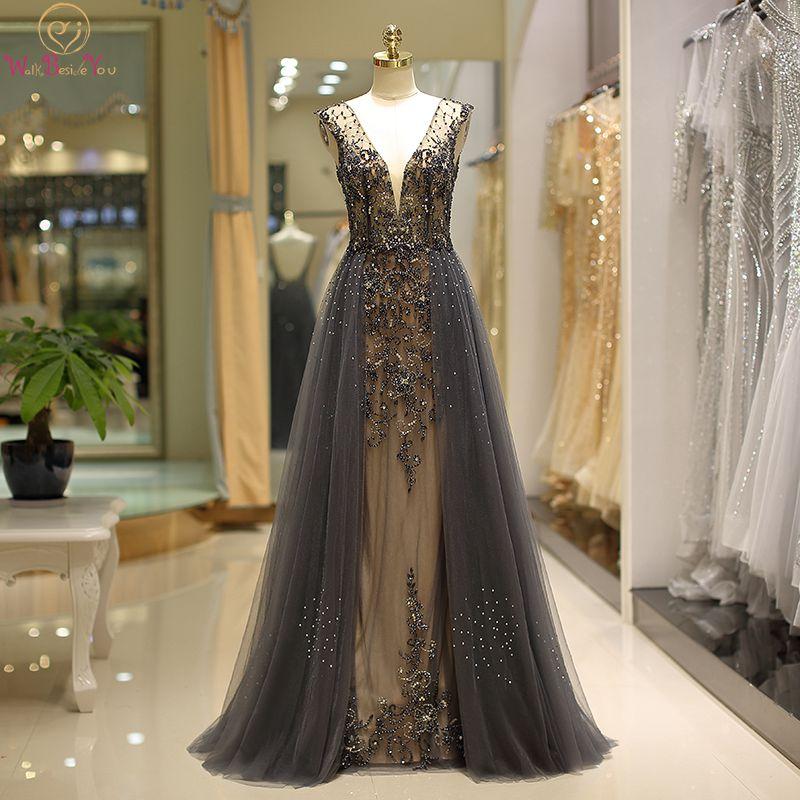 Luxury Hard Beading Evening Dresses Dark Gray Gold Diamond Crystal