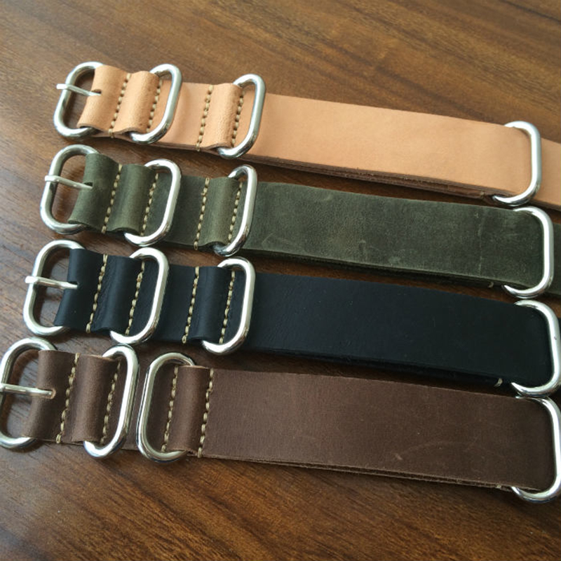 Vintage Genuine Leather High-end Crazy horse skin Watch Strap 18mm 20mm 22mm 24mm 26mm for NATO ZULU Men woman brown Watch Band wholesale 10pcs lot 20mm 22mm 24mm 26mm genuine leather crazy horse leather watch band watch strap man watch straps black buckle