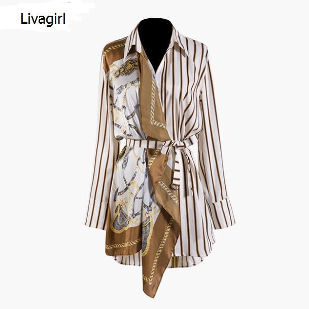 2019 nouveau printemps été revers à manches longues motif rayé Split Joint irrégulière grande taille chemise femmes Blouse mode J