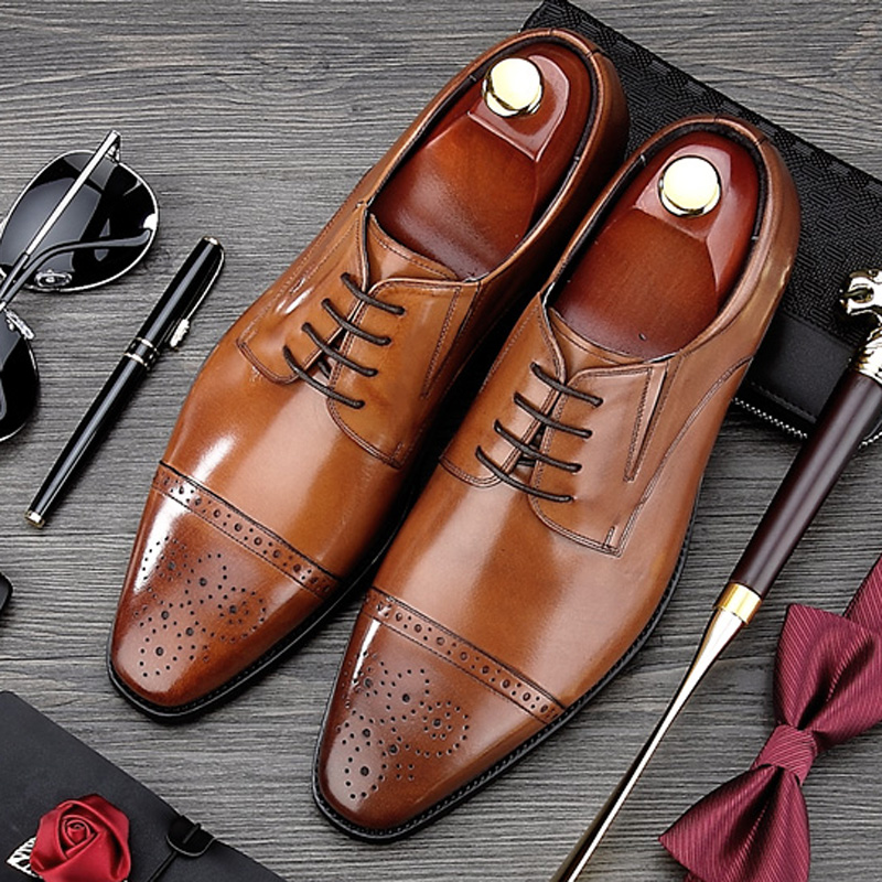 British Style Carved Man Brogue Shoes Vintage Genuine Leather Formal Dress Oxfords Pointed Toe Derby Men's Office Footwear MG02 krusdan british style vintage man brogue shoes genuine leather handmade oxfords round toe derby formal dress men s flats nk63