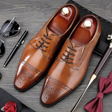 RUIMOSI British Style Man Semi Brogue Shoes Vintage Genuine Leather Formal Dress Oxfords Pointed Toe Derby Men's Footwear MG02 цена