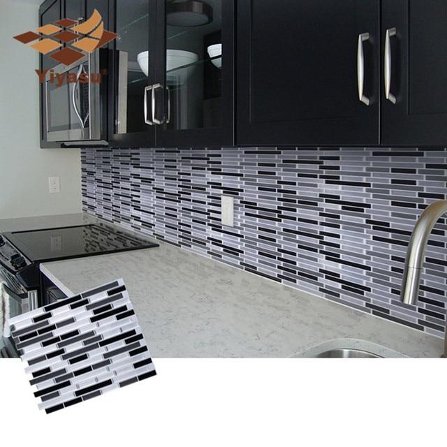 mosaic self adhesive tile backsplash wall sticker vinyl bathroom rh aliexpress com adhesive tiles for kitchen backsplash Decoupage Tile Backsplash