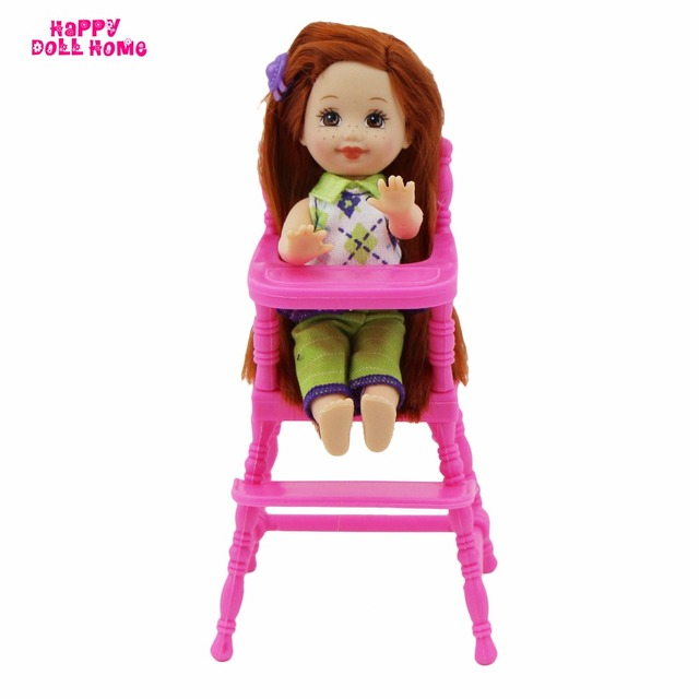 Baby Toy High Chair Set 1 2 Slipcover One Pink Assembly Nursery Furniture Toys Dollhouse Accessories For Barbie Kelly Size