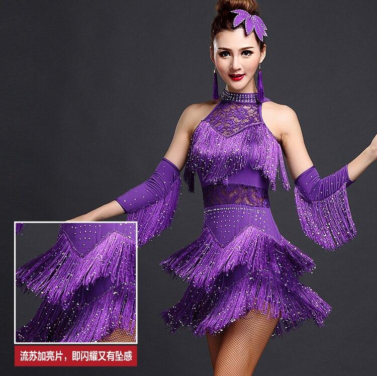 Nuevo 2016 Latino danza Vestidos Trajes mujeres/Niñas flecos sexy ...