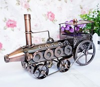 Vintage Train Head Model Metal Iron Black Red Simulation Train Model Steam Engine Crafts Household Office