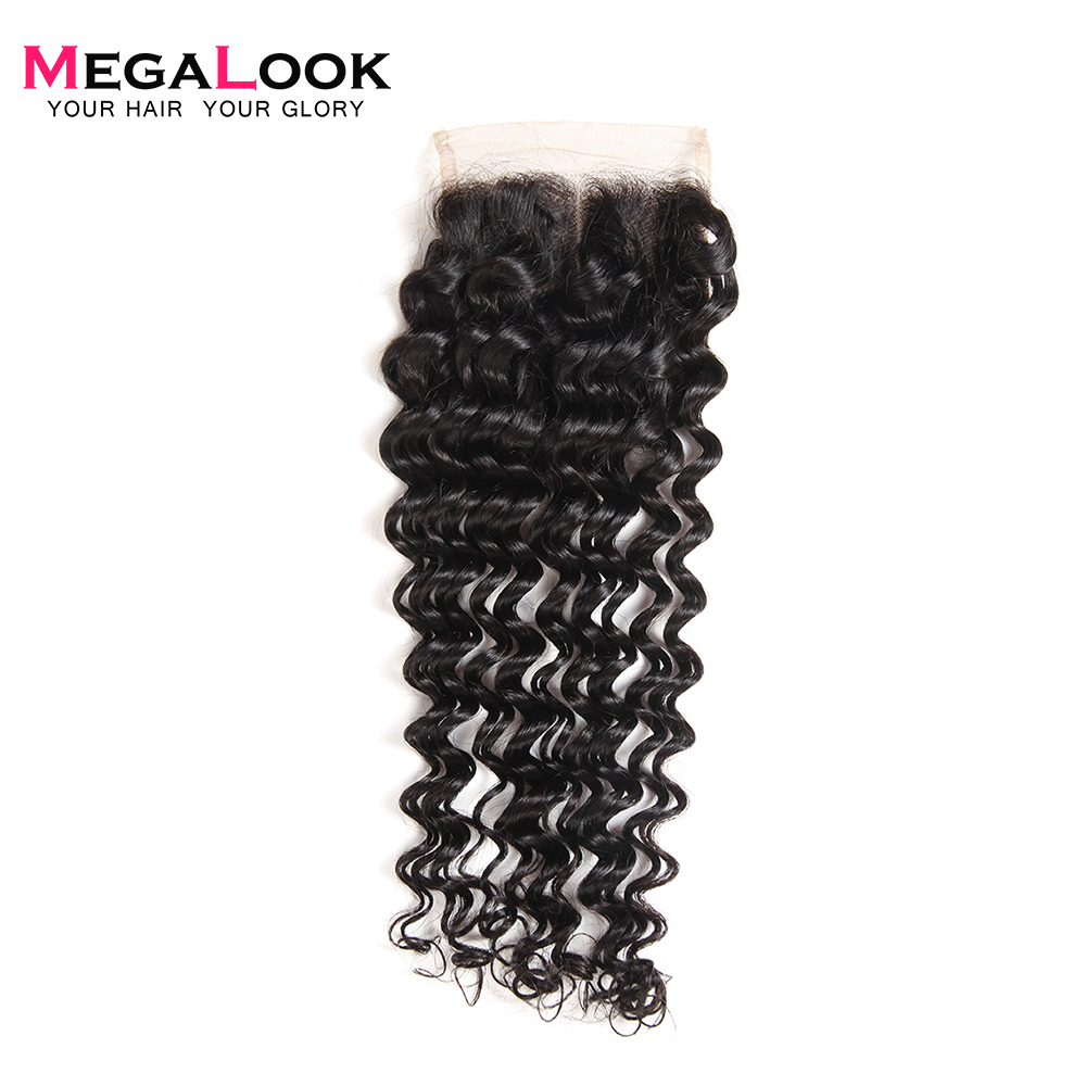 Megalook Human-Hair Lace Closure Deep-Wave 4X4 Brown Peruvian Light 10-22inch 100%Remy