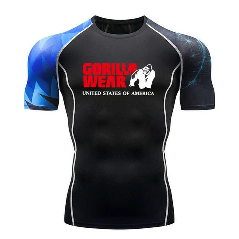 رجل MMA اللياقة البدنية Rashguard تي شيرت موضة ثلاثية الأبعاد في سن المراهقة الذئب قصيرة الأكمام قصر ضغط قميص الرجال كمال الاجسام القماش