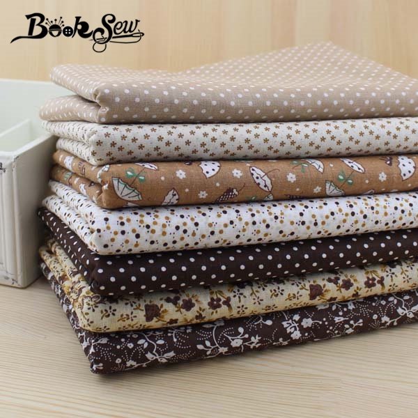 Booksew 7 bucăți 50cm * 50cm Bumbac Fabric ieftine Fat Quarter Bundle Vintage Brown Quilting Cusut Patchwork Tilda GRATUIT SHIPPING