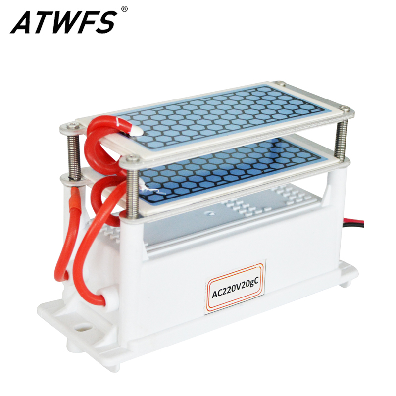 ATWFS Ozone Generator 220v 20g Ozono Room Diy Air Purifier Home Air Freshener 4 Sheets Ozonio Plates Sterilization Deodorization